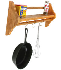 Wall-Mounted Pot Rack with Shelf
