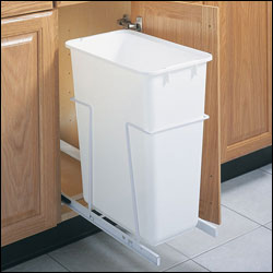 Small kitchen space saving solutions organize it blog - Small pull out trash can ...