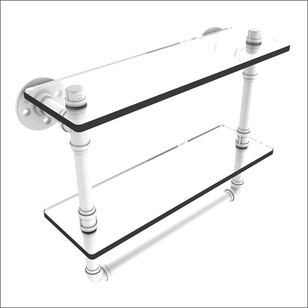 Industrial Pipe Two Tiered Shelf with Towel Rack