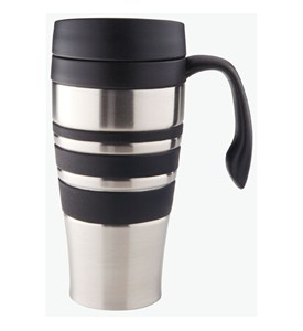 Stainless Steel Travel Coffee Mug - Brushed Finish Image