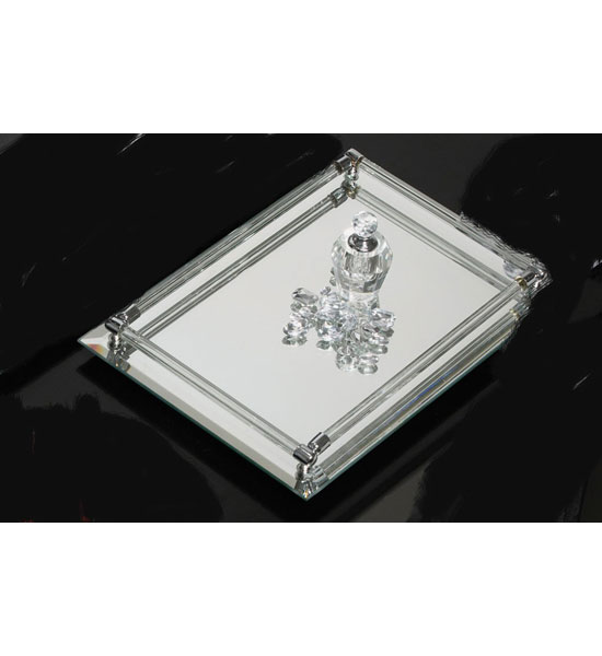 Deluxe mirrored vanity tray in vanity and sink accessories for Mirrored bathroom tray