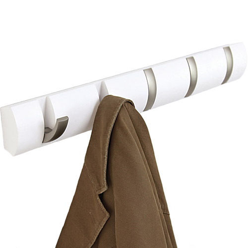 Wood flip coat hook white in wall coat racks White wooden coat hooks