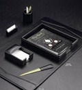 Six Piece Black Leather Desk Set