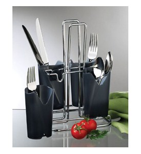 Black And Chrome Flatware Caddy In Kitchen Utensil Holders