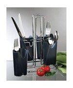 Black and Chrome Flatware Caddy