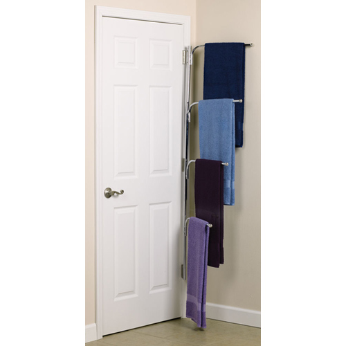 Hinge-It Clutter Buster Door Towel Rack - Chrome In Behind The