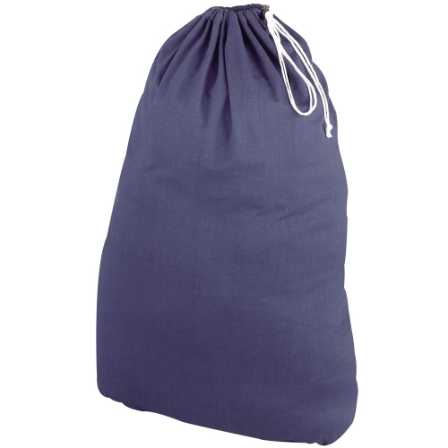 Cotton Drawstring Laundry Bag - Navy in Laundry Bags