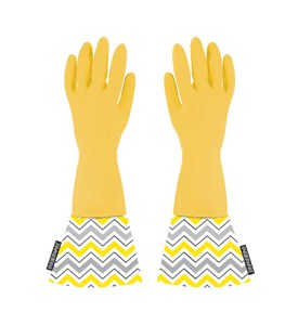 Rubber Dishwashing Gloves with Chevron Cuffs Image