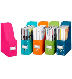 Colorful Plastic Magazine Organizers (Set of 5) Image