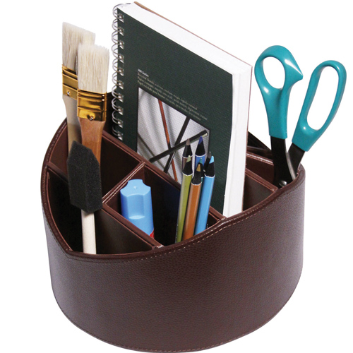 Spinning desktop organizer faux leather in remote - Spinning desk organizer ...