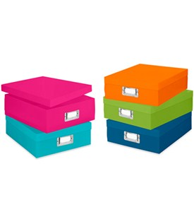 Colorful Plastic Document Boxes (Set of 5) Image
