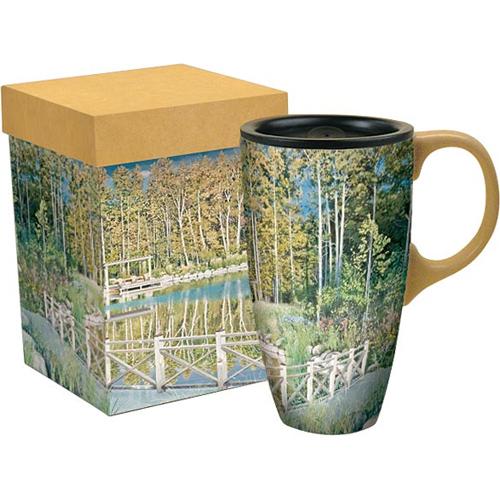 Ceramic Travel Coffee Mug Cottage Country In Travel Mugs