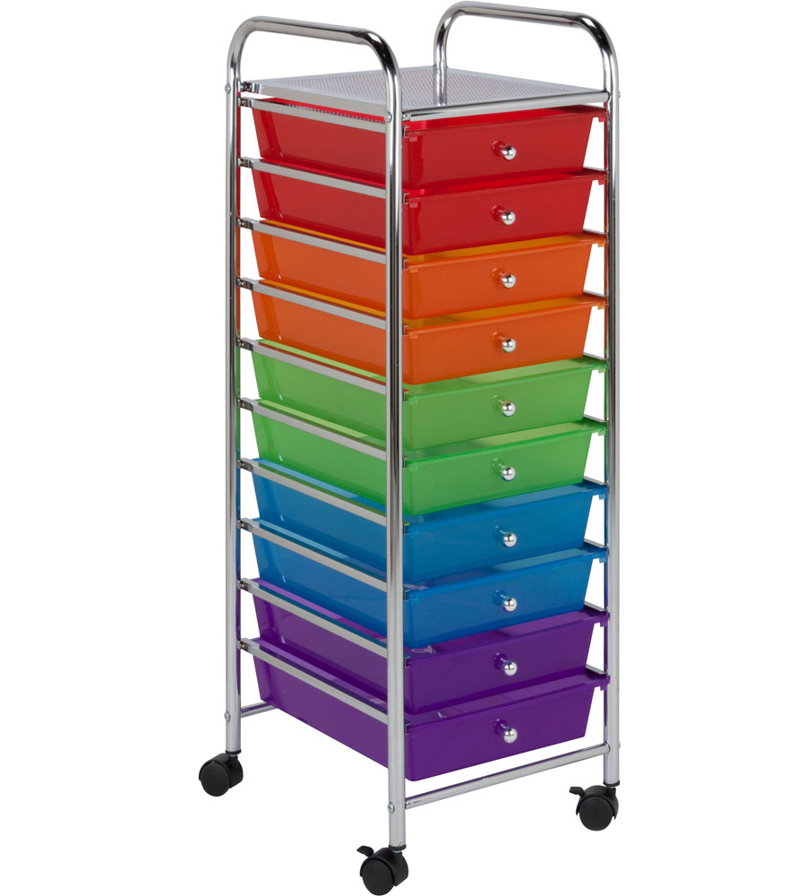 10 drawer storage cart in storage drawers for Rolling craft cart with drawers