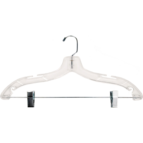 Clear Plastic Clothes Hanger With Clips 17 Inch In