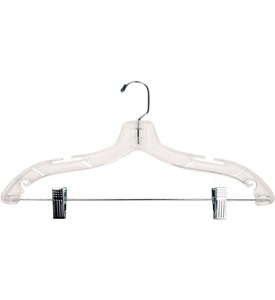 Clear Plastic Clothes Hanger with Clips - 17 Inch Image