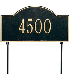 Two-Sided Arch Lawn Address Plaque - One-Line Image