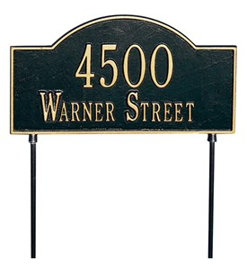 Two-Sided Arch Lawn Address Plaque - Two-Line Image