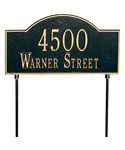 Two-Sided Arch Lawn Address Plaque - Two-Line