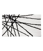 Abstract Microfiber Accent Rug - Black and White