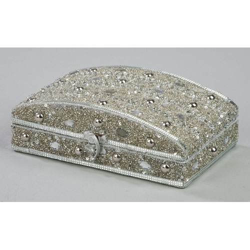 Silver Beaded Jewelry Box Image