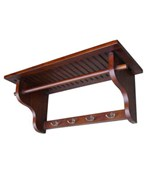 Wall Hanging Shelf with Hooks - Mahogany