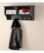 36 Inch Hanging Shelf with Coat Hooks