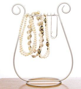 Silver Harp Necklace and Jewelry Display Stand Image