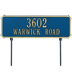 Two-Sided Rectangle Lawn Address Plaque - Two-Line Image