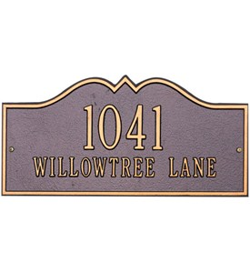 Hillsboro Lawn Address Plaque - Estate Two-Line Image