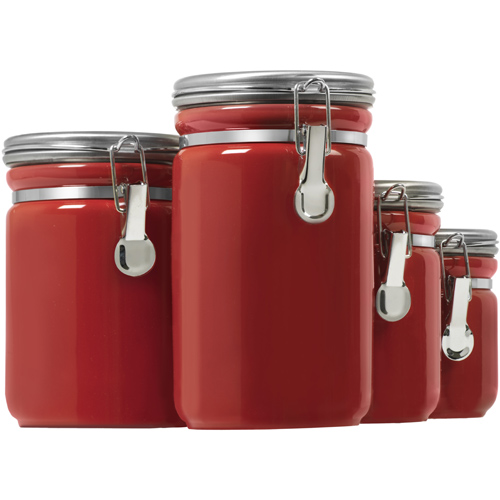 Ceramic kitchen canisters red set of 4 in kitchen for Kitchen set red