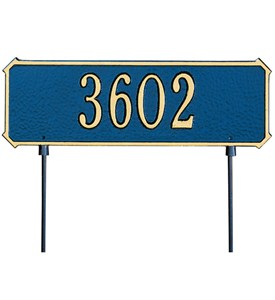 Two-Sided Rectangle Lawn Address Plaque - One-Line Image