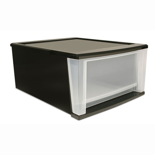 Stackable Plastic Storage Drawers - Black Image