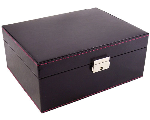 Faux Leather Locking Jewelry Box Black In Jewelry Boxes