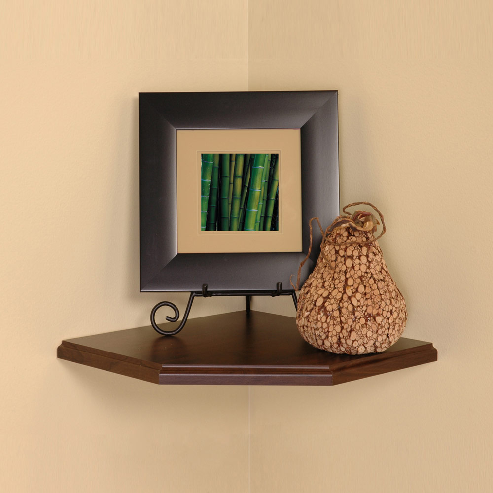 12 Inch Floating Corner Shelf in Wall Mounted Shelves