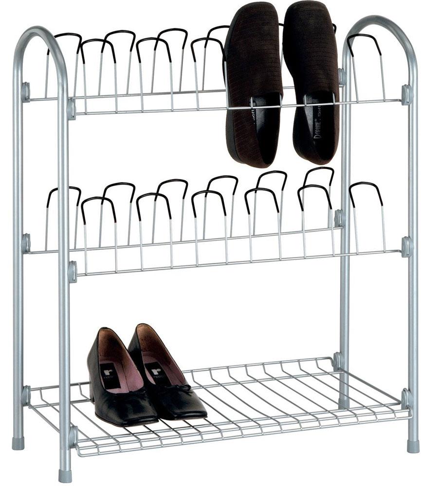 12 Pair Wire Shoe Rack With Storage Shelf In Shoe Racks