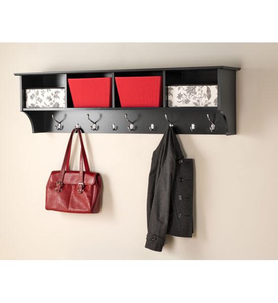 60 Inch Hanging Shelf With Coat Hooks In Wall Coat Racks