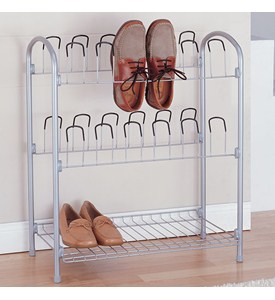 12 Pair Wire Shoe Rack with Storage Shelf Image