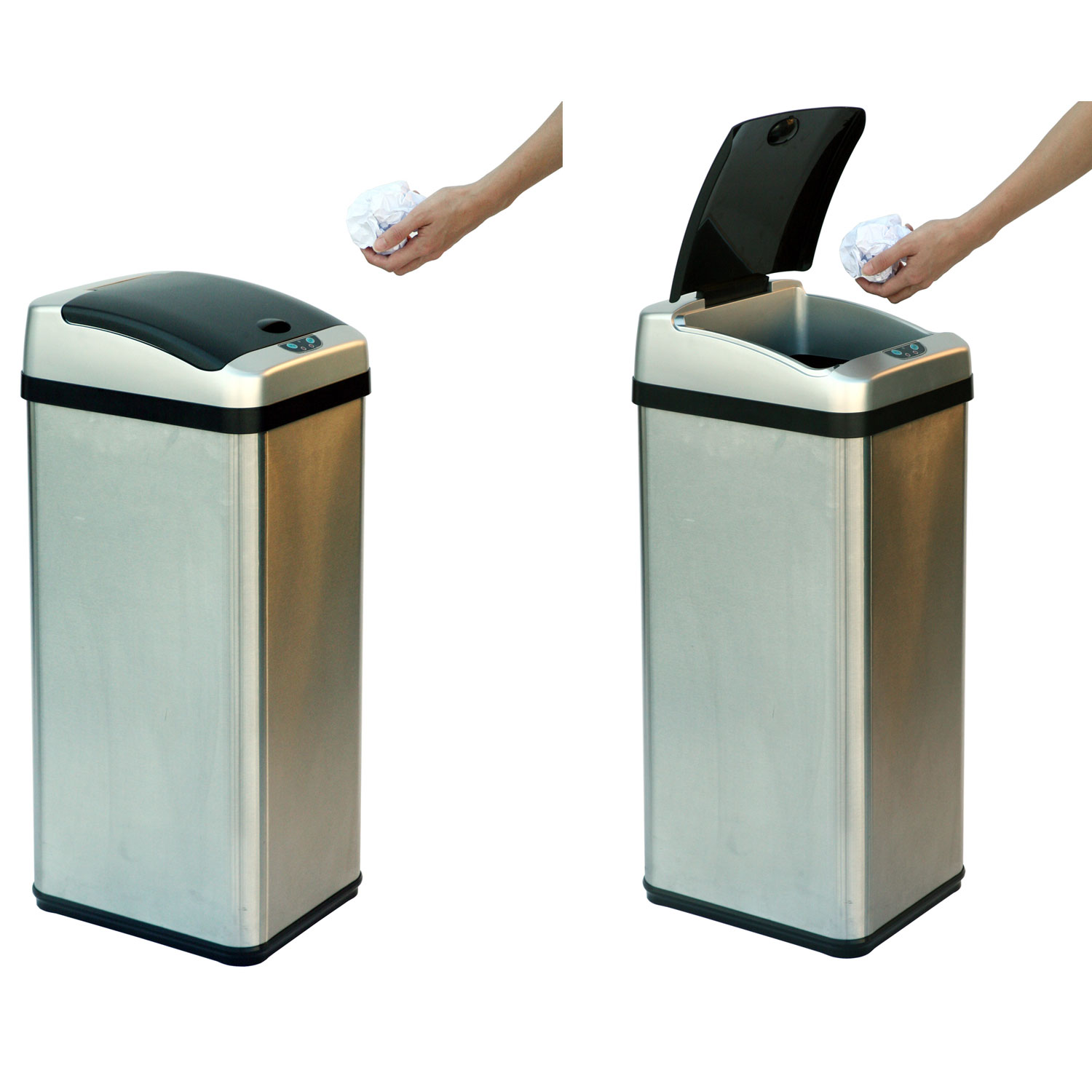 13 gallon stainless steel extra wide automatic trash can for Kitchen garbage cans