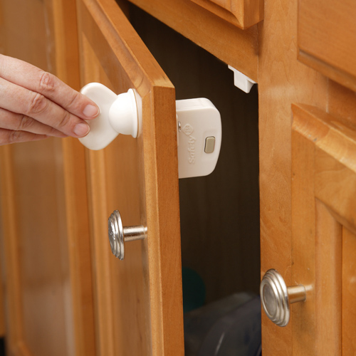 Safety first child proof locks five piece set in cabinet for Child lock kitchen cabinets