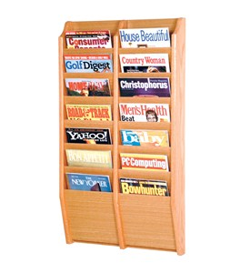 Wall Magazine Rack - Oak 14 Pocket Image