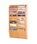 Wall Magazine Rack - Oak 14 Pocket