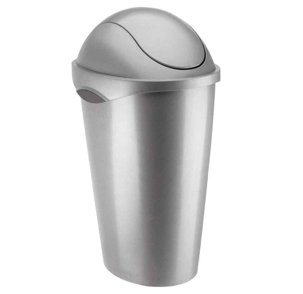 Umbra swing top trash can nickel in kitchen trash cans for Kitchen garbage cans