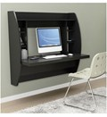Wall Mounted Desk with Storage - Black