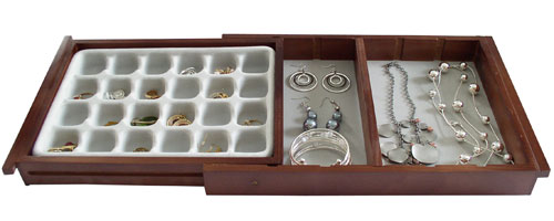 Expandable Flocked Jewelry Drawer Organizer In Jewelry Trays