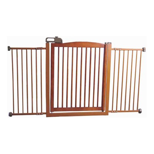 Wide Pet Gate with One Touch Door - Wood Image