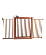 Wide Pet Gate with One Touch Door - Wood