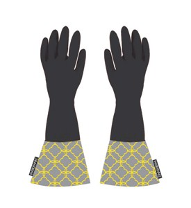 Rubber Dishwashing Gloves with Chainlink Cuffs Image