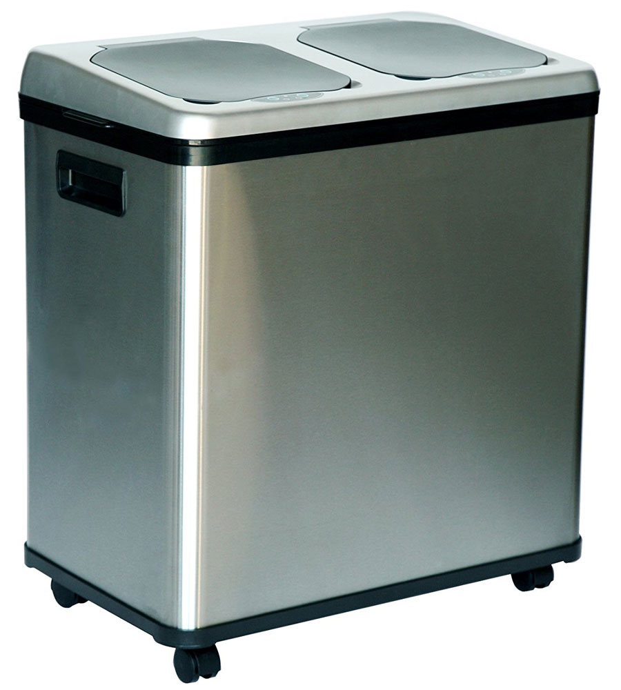 round stainless steel trash can 26 gallon 16 gallon dual compartment recycle bin