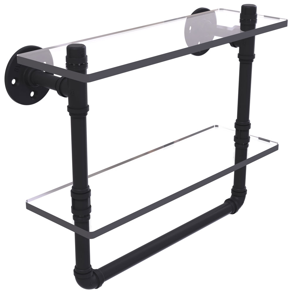 16 inch 2 tier shelf with towel bar in bathroom shelves. Black Bedroom Furniture Sets. Home Design Ideas