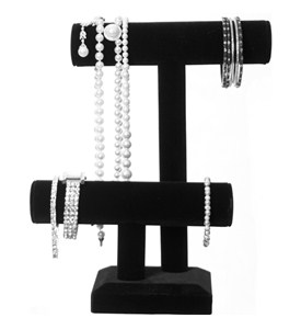 Black Velvet Jewelry Display - Double Tier Image